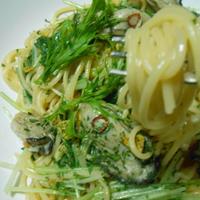 牡蠣と水菜のペペロンチーニ