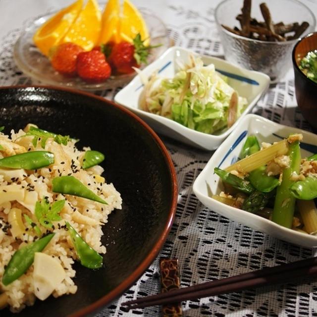 「おいしい!賞Get!!」【晩ご飯2日分です♪】竹の子の炊き込み/有り合わせのチャーハン他。
