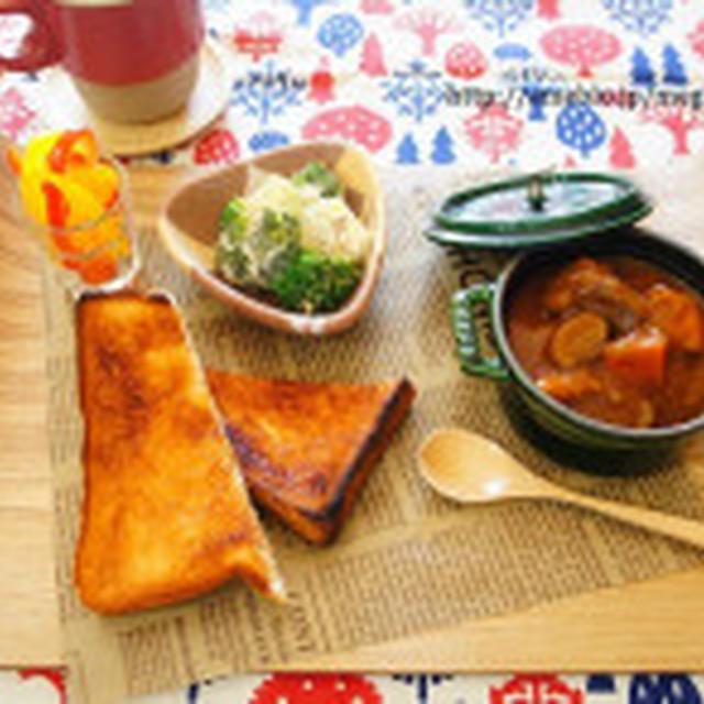 シュガートーストとstaubビーフシチューのプレートブランチ