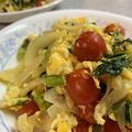 ミニトマトと小松菜の卵とじ&ほやの刺身♪