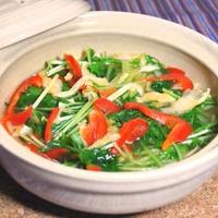 水菜とうす揚げのハリハリ小鍋&野菜のうまみドレッシング