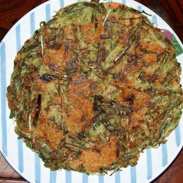水菜とネギのチヂミ