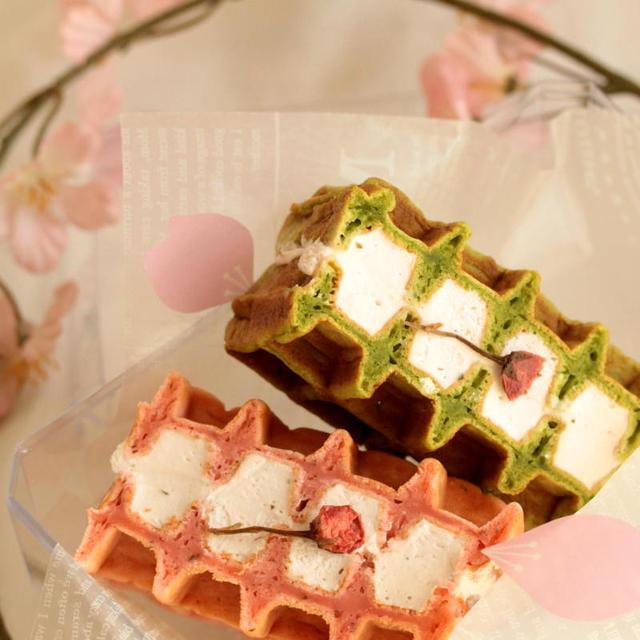 * 桜と抹茶 ♡ 春のワッフルサンド♪