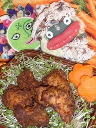 鶏肉のスパイシーチョコカレー焼き&米茄子のチョコ味噌田楽サラダ(お家カフェ)