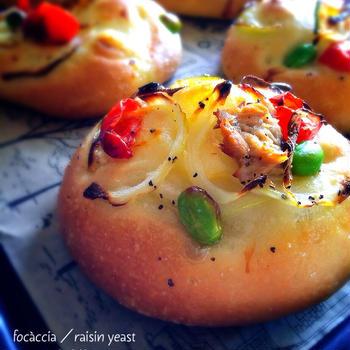 彩り野菜のフォカッチャ(酵母)・イギリス食パン