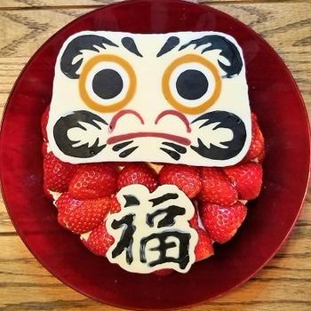 合格祈願と誕生日★だるまケーキ