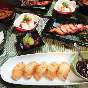 今年の母の日のプレゼントはッ! & 長芋ソテーの甘辛味噌ダレと焦げちゃった魚 de 夕食。