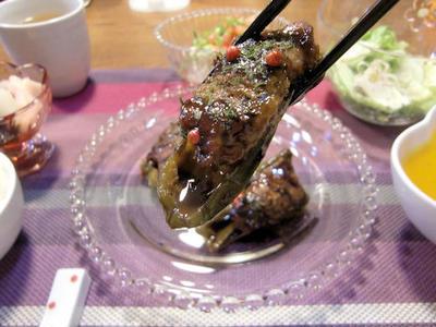【肉詰めピーマンのソース照り焼き】定食♪