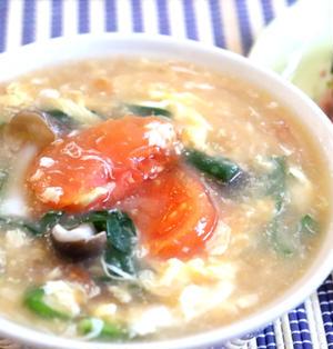 【簡単!汁物】具だくさん♪トマトとニラと玉子のとろりん中華風味噌汁