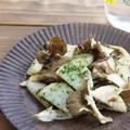 長芋とキノコのり塩炒め
