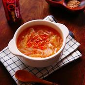 にんにくたっぷり☆ベーコンとキャベツの中華風春雨スープ