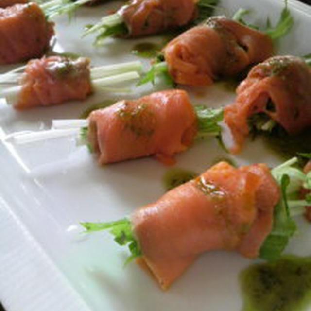 サーモンと水菜のサラダ
