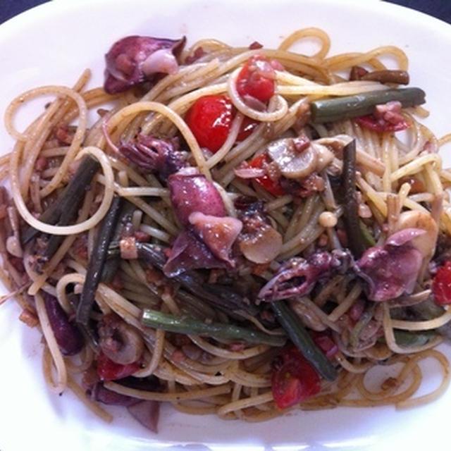 蛍烏賊と山菜で美味しいパスタ作り・春のスパゲッティ