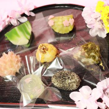 3月27日 練り切り 笹、石畳、桜、錦玉、おはぎ