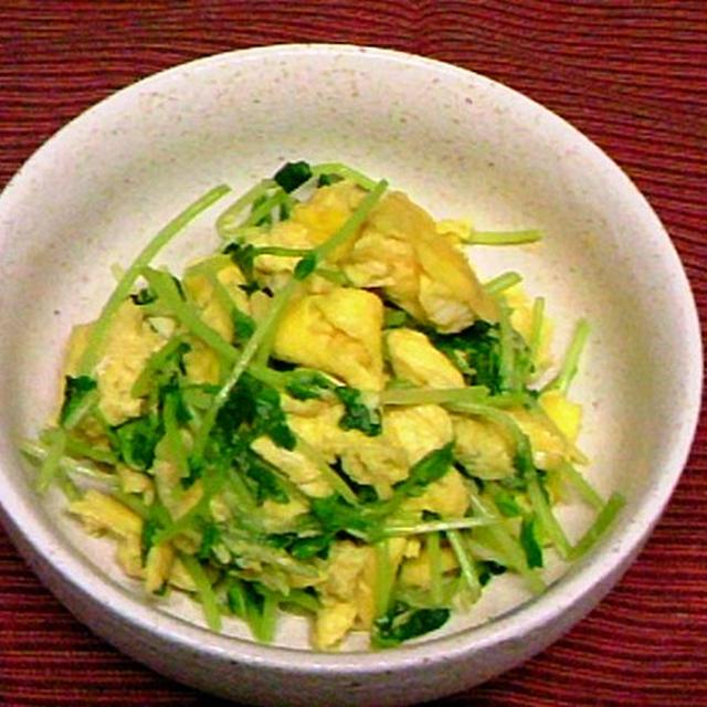 豆苗とふんわり卵の炒め物