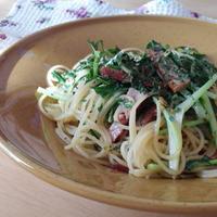 マ・マーさんの早ゆでパスタ☆水菜と焼豚のペペロンチーニ