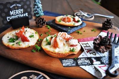 【簡単トースターレシピ】餃子の皮で えびマヨグラタンピザ *クリスマス*パーティーレシピ*簡単*時短*前菜*