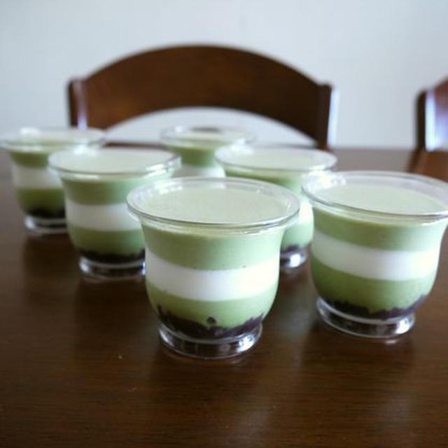 和✿あんこ&抹茶とクリームのババロア♪