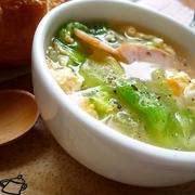 1行レシピ♪簡単!レタスのハム玉スープ