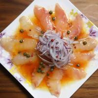 創味のだしまろ酢で作る簡単白身魚のカルパッチョのレシピ