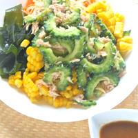 簡単&作り置きツナゴーヤで食欲増進!野菜たっぷりの冷やし中華。