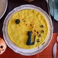 満月の中で月を愛でる猫(パンプキンチーズケーキ)