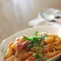 ミネストローネで煮込む早ゆで2分スパゲティ