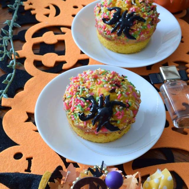 カラースプレーかぼちゃマフィン~なんちゃって毒グモ添え~ハロウィンキッズメニュー♪