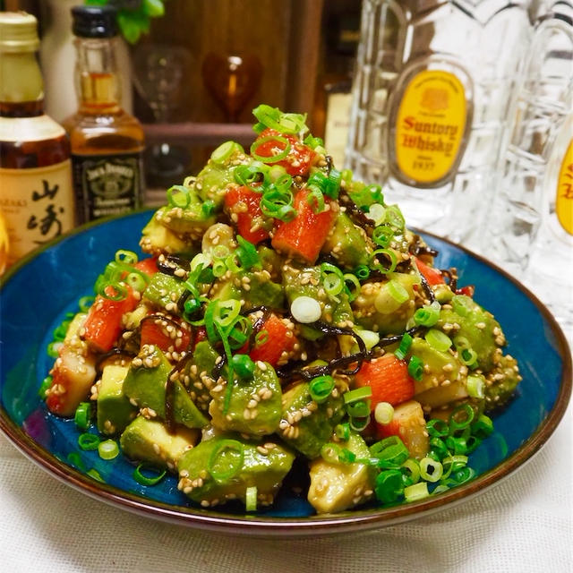 【レシピ】塩こんぶが美味しい♬やみつきかにかまアボカド♬