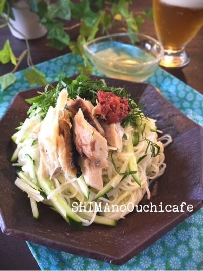 塩鯖と練り梅のさっぱりかけ素麺