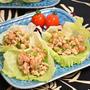 【レシピ】鶏と大豆の味噌そぼろ レタス巻き