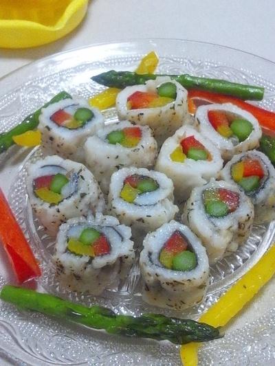 鱧の彩り野菜巻き焼き