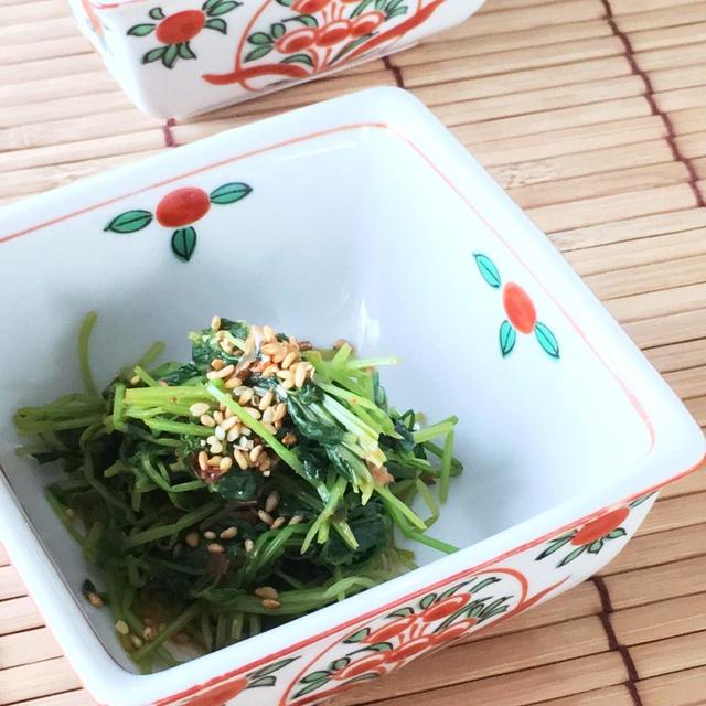 【時短レシピ】豆苗のピリ辛おひたし。レンジ加熱のみで出来ます