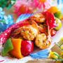 【副菜】エビとパプリカのスイートマスタード和え。ワンポットパスタでボンゴレビアンコ。