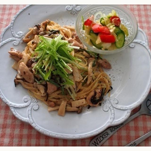 ☆ランチ 鶏肉と水菜の和風きのこクリームパスタ☆
