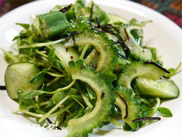 7.グリーン野菜たっぷりゴーヤサラダ