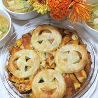 ◼️花と料理でハロウィンを楽しもう♡かぼちゃとお豆の重ね焼き
