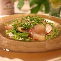 牡蠣だし醤油がDNAレベルで美味し!スズキと九条ネギの和風カルパッチョ