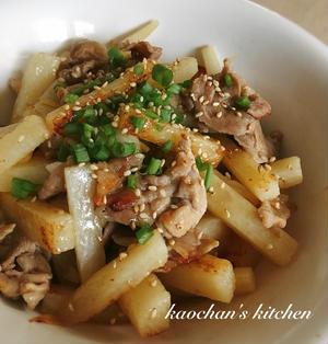 [メイン・簡単]シャクっと美味しい*長芋と豚肉の梅照り焼き