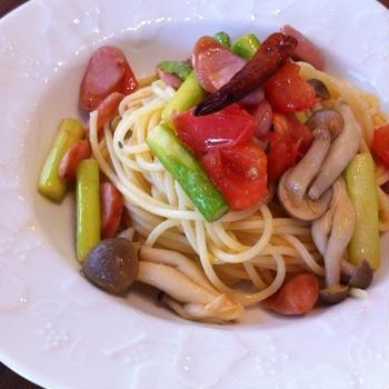 普段のスパゲティ ペペロンチーノ