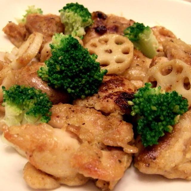 残り物の整理を兼ねて居酒屋メニュー 塩麹鶏もも肉と蓮根のソテー