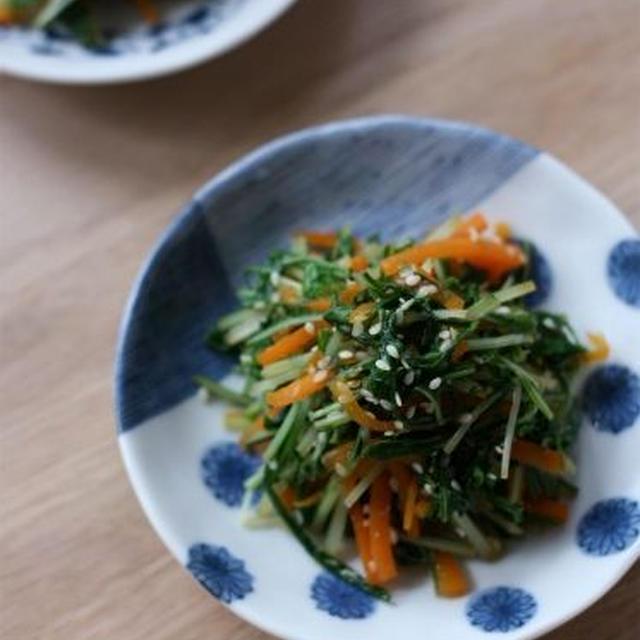 水菜の梅ごま生姜和え