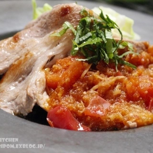 【みりんレシピ】まろやかみりんポン酢おろしソースでさっぱりと ~ 豚肉のトマト生姜焼き。