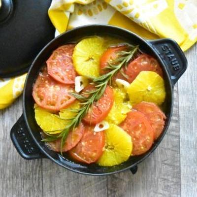〆まで美味しい♪トマトとオレンジのオリーブオイル蒸し