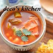 大豆とアスパラベーコンの、お手軽チリコンカン風スープ。