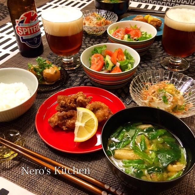 中華風〜鶏の唐揚げ・里芋の味噌マヨ和え♪