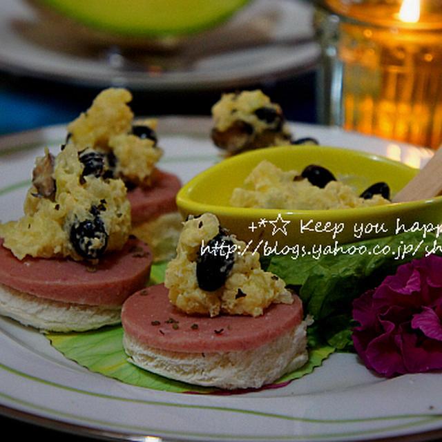 +*朝食やおつまみに!黒豆とじゃが芋のマッシュのオープンサンド+*