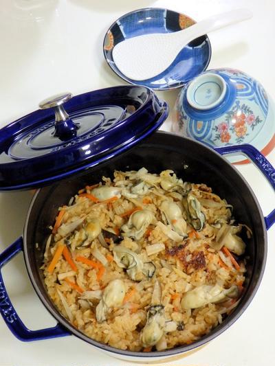 新米で牡蠣の味噌炊込みごはん