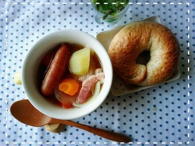 時短・簡単ポトフ&冷凍ベーグルdeパパッとご飯です(*´ー`*)