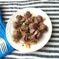 砂肝とネギのニンニク炒め